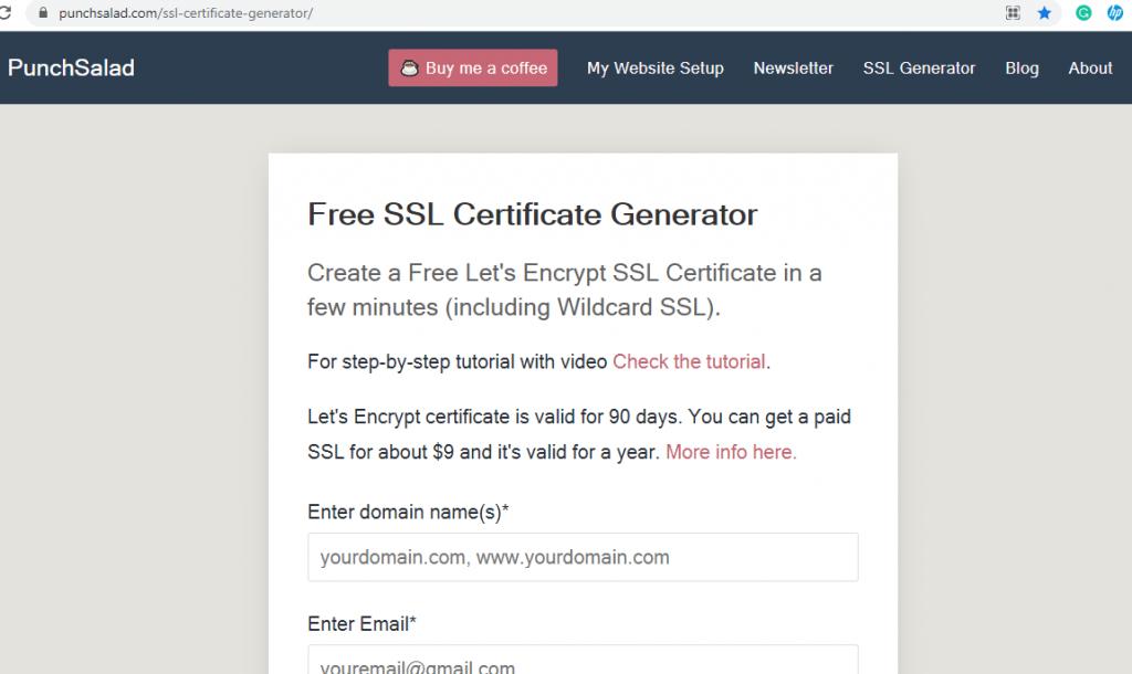 Free SSL Certificate Generator